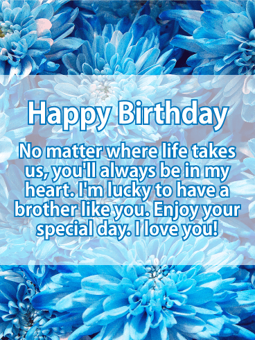 Blue Flower Happy Birthday Card For Brother Birthday Greeting