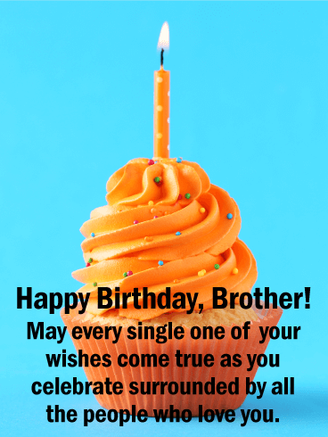 Orange Cupcake Happy Birthday Card for Brother