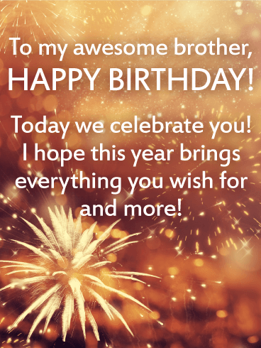To my Awesome Brother Happy Birthday Wishes Card Birthday