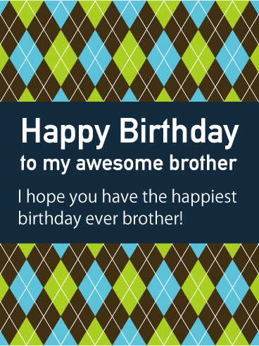 Argyle Happy Birthday Card for Brother