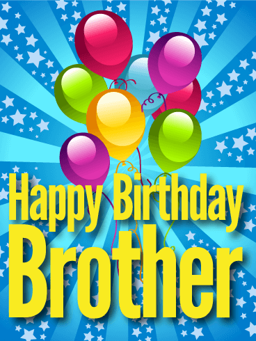 Glitzy Happy Birthday Card For Brother Birthday Greeting Cards