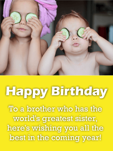 Cute Siblings - Happy Birthday Card for Brother