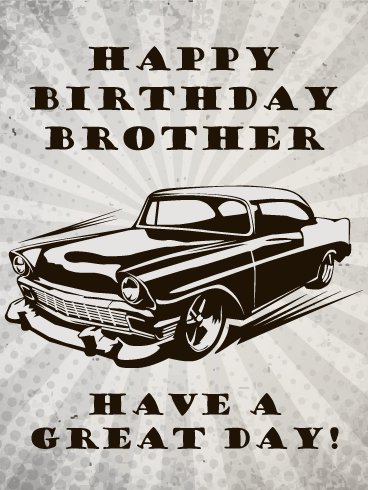 Vintage Car Happy Birthday Card for Brother