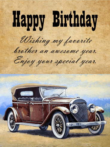 Vintage Car Art Happy Birthday Card Wishes for Brother