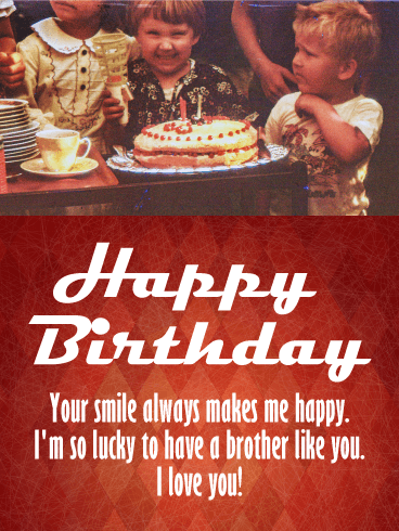 Vintage Picture Happy Birthday Card for Brother