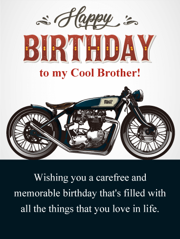 Vintage Motorcycle Happy Birthday Card For Brother