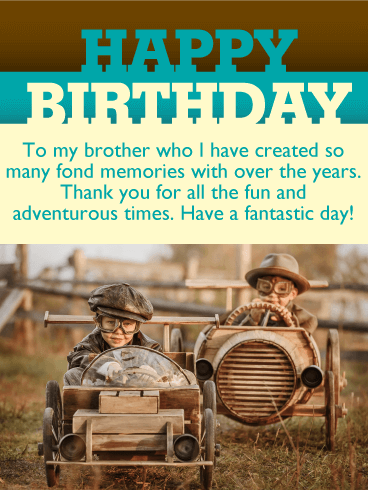 Fond Memories Vintage Happy Birthday Card For Brother Birthday