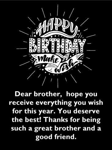 Make a Wish! Classic Happy Birthday Card for Brother