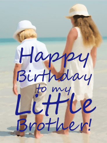 Memory of my Little Brother - Happy Birthday Card