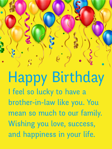 Birthday Balloon Cards For Brother In Law Birthday Greeting