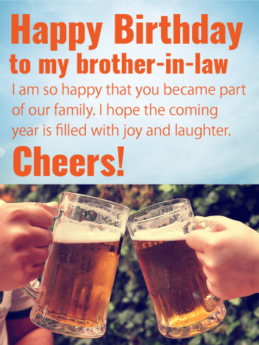 Cheers Happy Birthday Card For Brother In Law