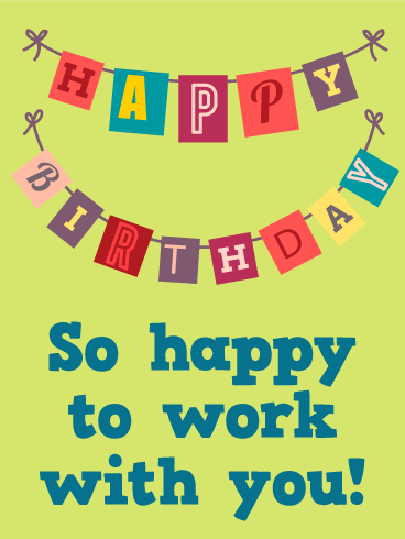 Happy Birthday Flag Card for Co-Worker