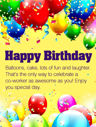 Enjoy Your Special Day - Happy Birthday Wishes Card for Co-Worker