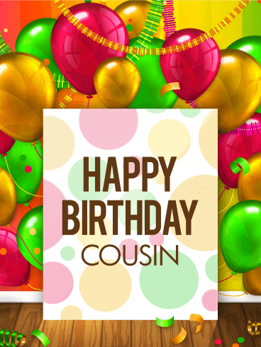 Colorful Birthday Balloon Card for Cousin