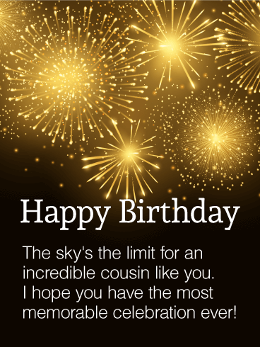 To my incredible cousin happy birthday wishes card birthday to my incredible cousin happy birthday wishes card m4hsunfo