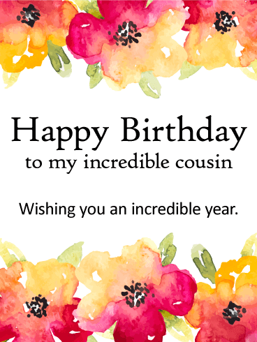 Wishing You a Incredible Year! Happy Birthday Card for Cousin