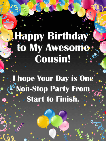 Vivid Birthday Balloon Card for Cousin