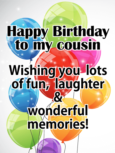 Bright Color Birthday Balloon Card for Cousin