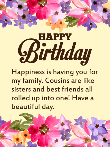 Pretty Floral Happy Birthday Card For Cousin Birthday Greeting