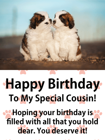 Adorable Puppies Happy Birthday Card for Cousin