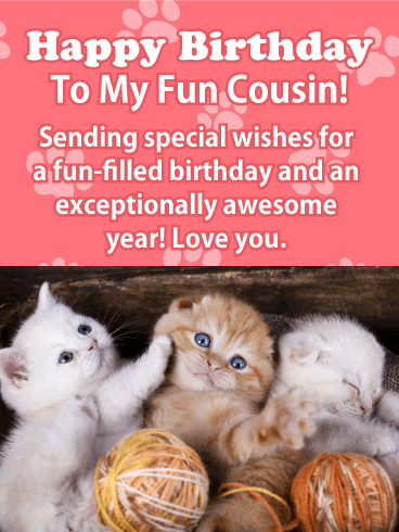 Sweet Kitten Happy Birthday Card for Cousin