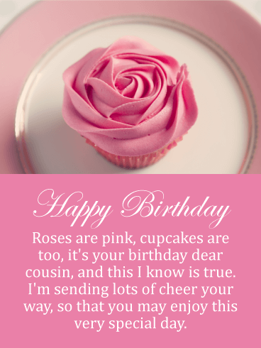 Rose Cupcake Happy Birthday Card for Cousin