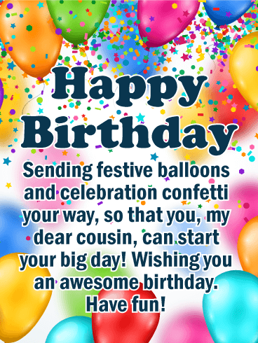 Festive Balloons Happy Birthday Card for Cousin