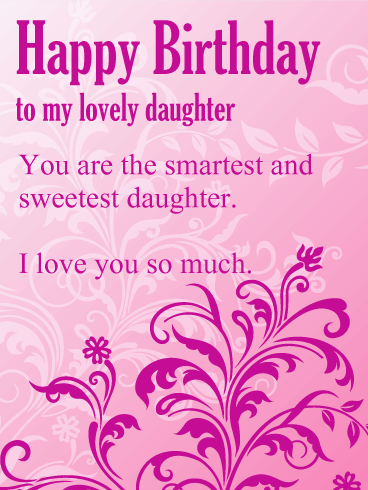 To My Lovely Daughter Purple Flower Happy Birthday Wishes Card