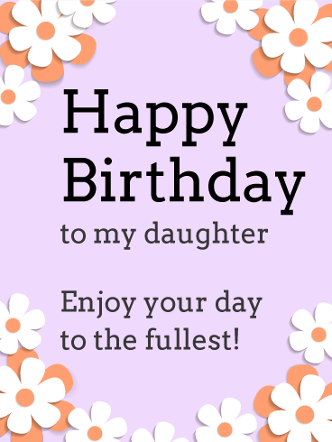 Pink and White Flower Birthday Card for Daughter