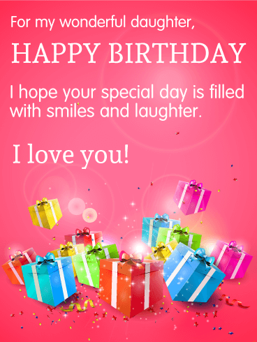 For My Wonderful Daughter - Happy Birthday Wishes Card
