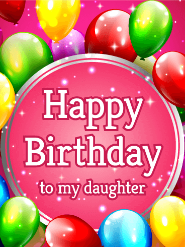 Vivid Color Birthday Balloon Card for Daughter