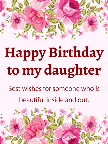 Birthday cards for daughter birthday greeting cards by davia pink flower happy birthday card for daughter bookmarktalkfo Choice Image