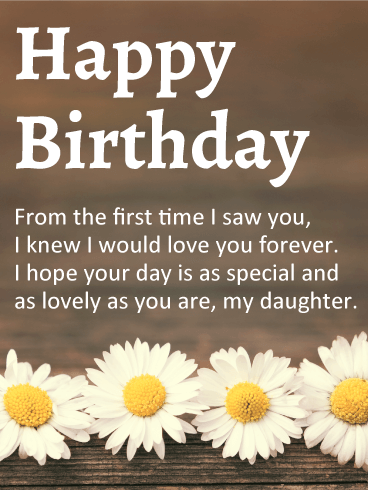 Lovely Daisy Happy Birthday Wishes Card for Daughter