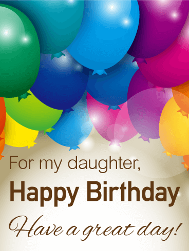 Rainbow Color Birthday Balloon Card For Daughter