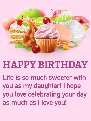 Yummy happy birthday treat card for daughter birthday greeting happy birthday treat card for daughter bookmarktalkfo Images