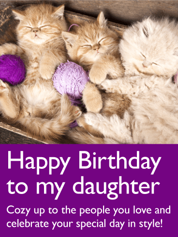 Adorable Cat Happy Birthday Card for Daughter