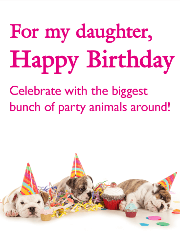 Birthday Party Dog Card for Daughter
