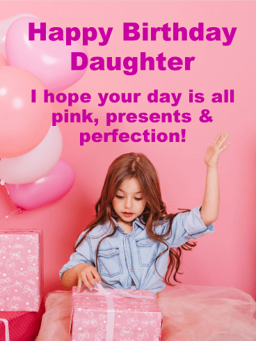 Pink is a Perfection! Happy Birthday Card for Daughter