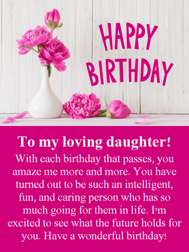 Prime Flowers For Loving Daughter Happy Birthday Card Birthday Funny Birthday Cards Online Inifodamsfinfo