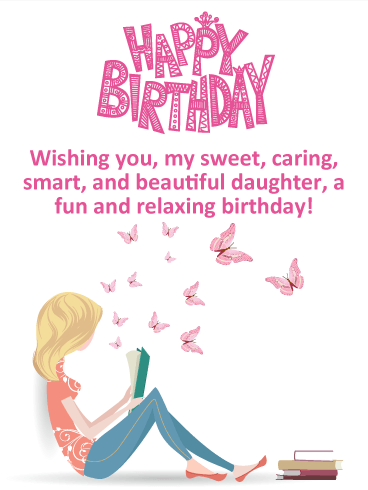 Pink Butterflies Happy Birthday Card For Daughter