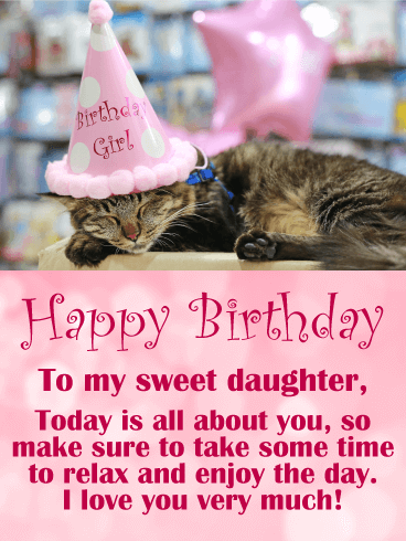 Adorable Cat Happy Birthday for Daughter