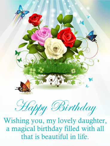 Glory Flower Happy Birthday Card for Daughter