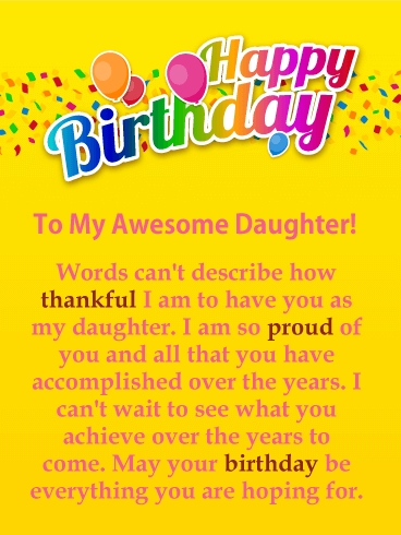 I am Thankful - Happy Birthday Card for Daughter