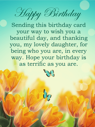To my Lovely Daughter - Happy Birthday Card