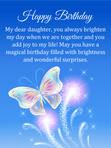Magical Butterfly Happy Birthday Card for Daughter
