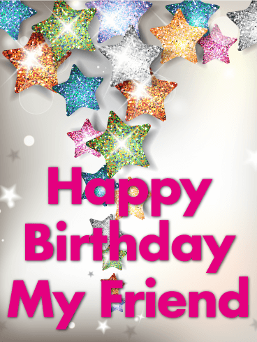 Shining Star Happy Birthday Card for Friends