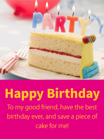 Party Candle Happy Birthday Card for Friends Birthday Greeting