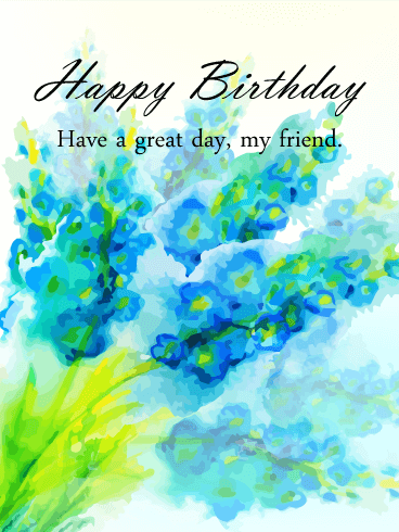 Blue Watercolor Flowers Happy Birthday Card for Friends