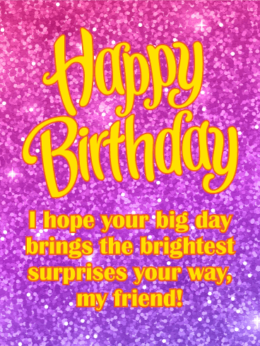 Spangle Happy Birthday Card for Friends