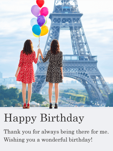 Birthday in Paris - Happy Birthday Card for Friends